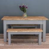 4ft Oak Farmhouse Kitchen Table with Straight Legs