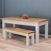 7ft Oak Farmhouse Kitchen Table with Straight Legs