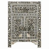 Black White Mother of Pearl Quality Indian Furniture Side Table Bedside Bedroom