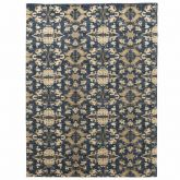 Hand Knotted Himalayan Wool 100 Knots Blue Sea Abstract Patterned Turtles Rug