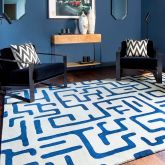 Hand Knotted New Zealand Wool 80 Knots Sapphire Blue Maze Pattern Kuba Rug