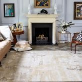 Hand Knotted Tibetan Wool Bamboo Silk 100 Knots Ivory Silver Stone Himalayan Wool Natural Marble Rug