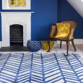 Herringbone Design Blue Wool Rug Jennifer Manners