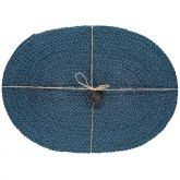 Jute Placemats Silky Oval Petrol Blue Fibre Dining Serving Mats Tableware