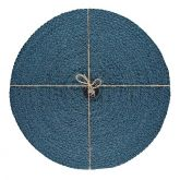Jute Placemats Silky Petrol Blue Fibre Dining Serving Mats Tableware