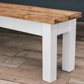 Farmhouse Style Oak Bench with Straight Legs