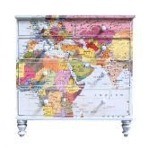 Vintage Upcycled Map Chest of Drawers