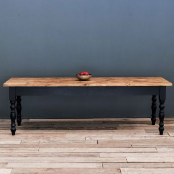 10ft Oak Farmhouse Kitchen Table with Turned Legs