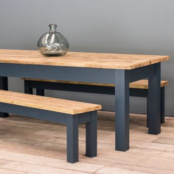 11ft Oak Farmhouse Kitchen Table with Straight Legs