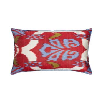 Luxury Rectangle Silk Cushion in Red and Blue