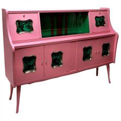 Luxurious Mid-Century Pink Lacquered Bar Cabinet