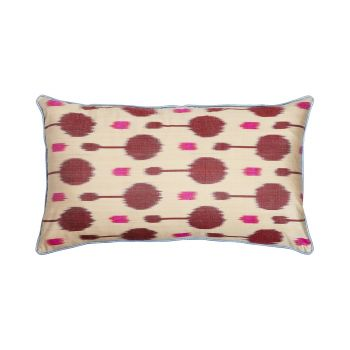 Luxury Rectangle Silk Cushion in Pink and Burgundy