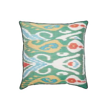 Luxury Square Silk Cushion in Green and Orange