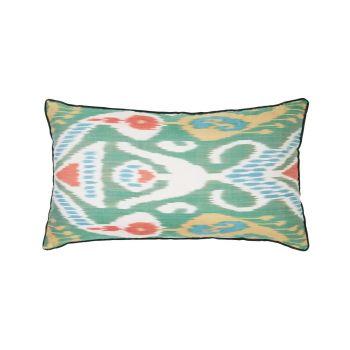 Luxury Rectangle Silk Cushion in Green and Orange