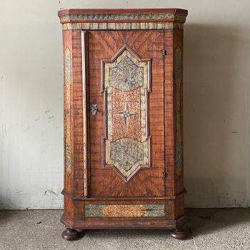 18th Century Original Painted Pine Marriage Cupboard