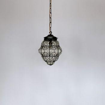 Large Italian Dark Brass Birdcage Chandelier with Glass & Crystal Drops