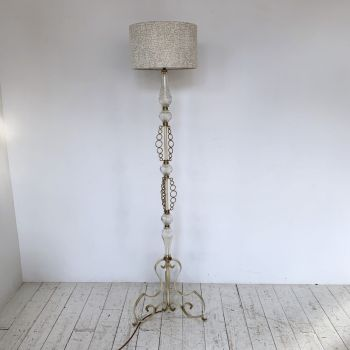 1930s Decorative French Floor Lamp With Glass Stem