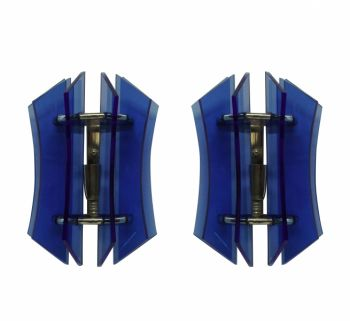 Pair of Blue Glass Sconces by Veca
