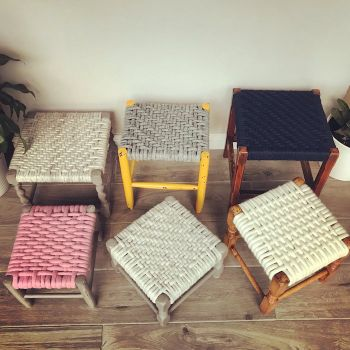 Felted Wool Woven Vintage Stools