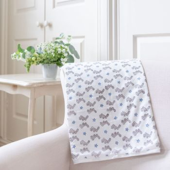 Blue Bunnies Cotton Baby Blanket Sarah K