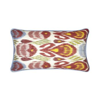 Luxury Rectangle Silk Cushion in Green, Red, Blue and Yellow