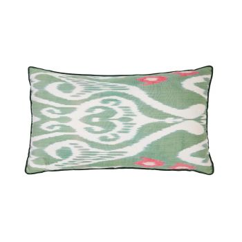 Luxury Rectangle Silk Cushion in Green and Pink
