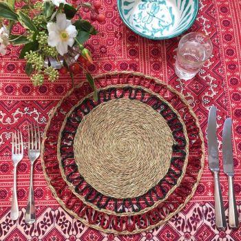 red tablecloth block print sarah k