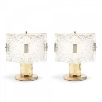 Pair of Kamenicky Senov Crystal and Brass Lamps