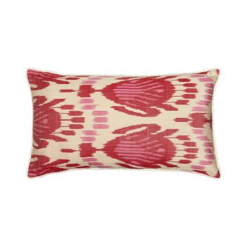 Luxury Rectangle Silk Cushion in Pink and Red