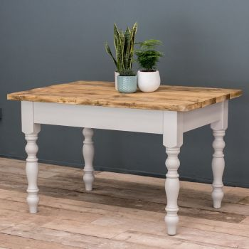 4ft Oak Farmhouse Kitchen Table with Turned Legs