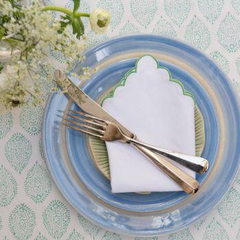 pastel green block print tablecloth Sarah K