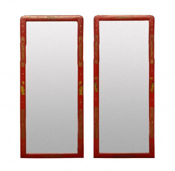 A Pair of Scarlett Japanned Queen Anne Style Mirrors