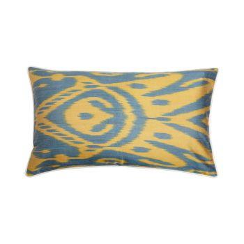Luxury Rectangle Silk Cushion in Yellow and Green