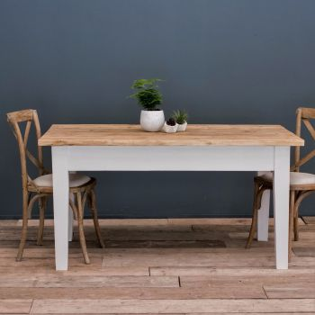6ft Oak Farmhouse Kitchen Table with Tapered Legs