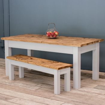 7ft Farmhouse Table with Turned Legs & VARIOUS COLOUR OPTIONS