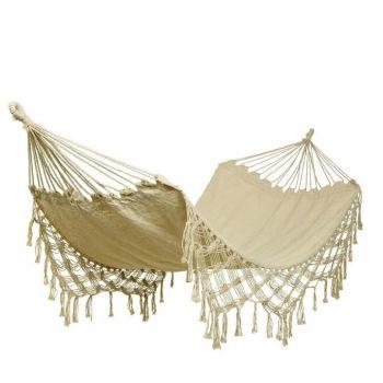 cotton beige natural tasselled hammock