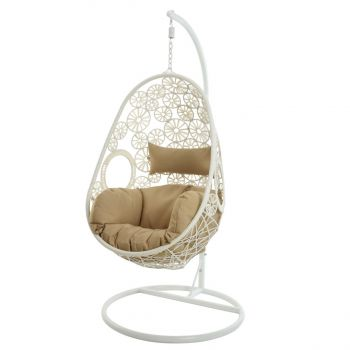 Garden Hanging Egg Chair in White
