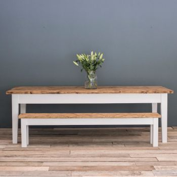 8ft Oak Farmhouse Kitchen Table with Tapered Legs