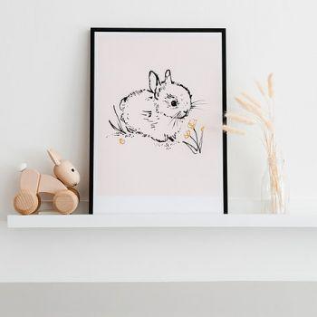 Little Bunny Art Print Blush Pink