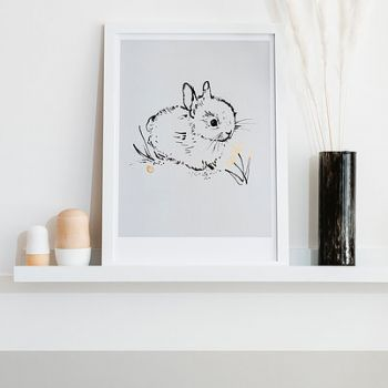 Little Bunny Art Print Soft Grey Bear & Beau Nursery Artwork