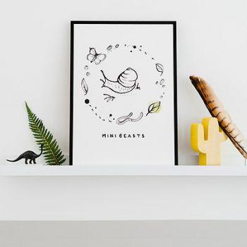 Mini Beasts Print A3 Bear & Beau Nursery Artwork