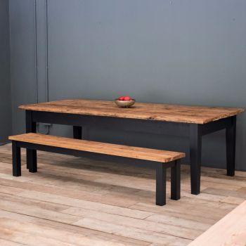 9ft Oak Farmhouse Kitchen Table with Tapered Legs