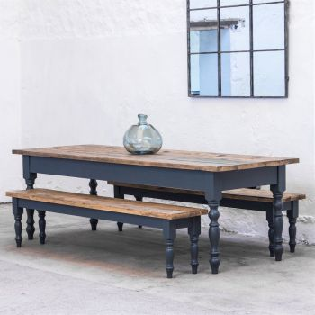 9ft Oak Farmhouse Kitchen Table with Turned Legs