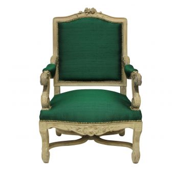 A Louis XIV Style Armchair In Emerald Silk