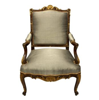 Walnut & Parcel Gilt Louis XV Style Armchair