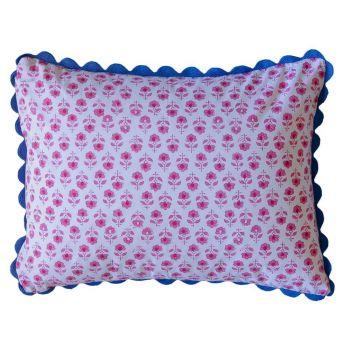 Pink Flower Buta Block Print Cushion