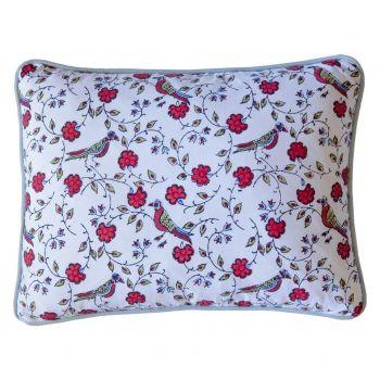 Jal Red Bird Block Print Cushion