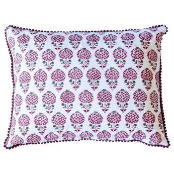 Moghul Rose Red Block Print Cushion