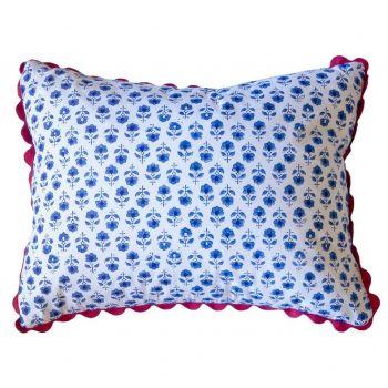 Blue Flower Buta Block Print Cushion