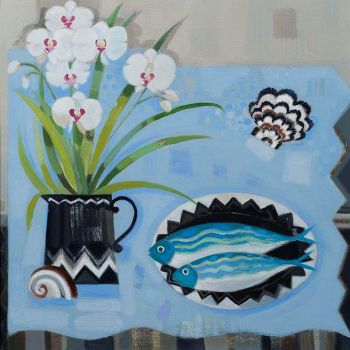 Fish on a Plate with white Orchids by Annabel Fairfax Main